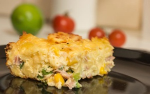 Chunky ham, pasta and vegetable frittata