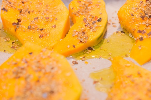 Drizzle olive oil over the pumpkin, sprinkle with the chili/coriander & some salt.. and roast