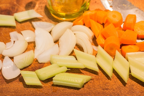 Chop some carrot, onion, garlic & celery